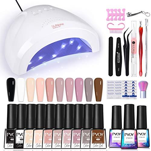 PVOY Gel Nail Polish Starter Kit, 48W UV Light Nail Dryer UV Gel Lamp, 10 Colors Nude Pink Color Gel Nail Polish with…