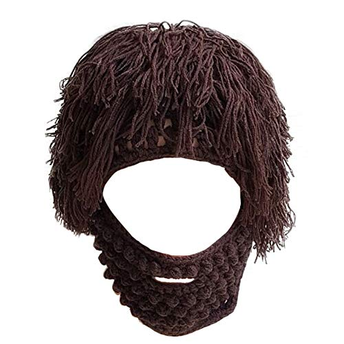 Dora Bridal Mens's Knit Barbarian Beard Hats Beanie Wig Winter Warm Ski Halloween Mask -