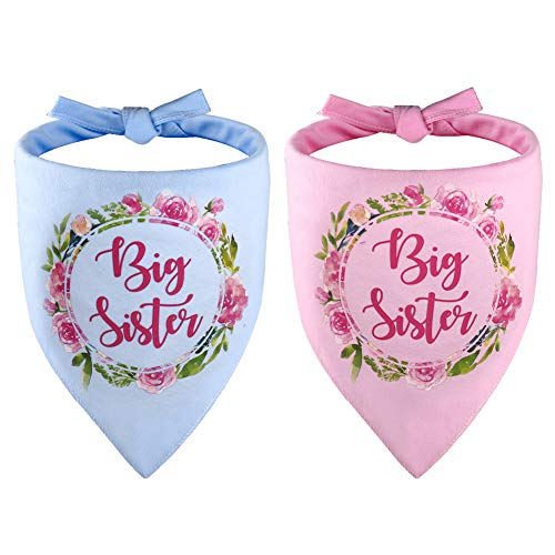 2 PCS Big Sister Dog Bandana Triangle Bibs Scarf Accessories for Dogs Pets Cat