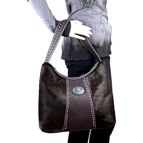 Bolso mujer única talla W Brown Cuero West Montana al de hombro para Hair CqpxfWH51w