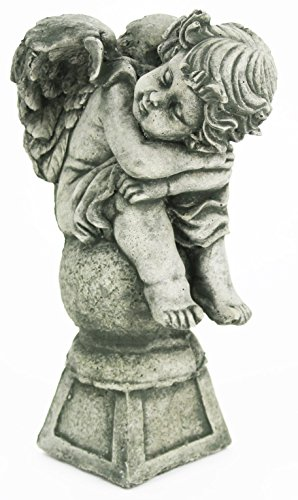 Angel on Pedestal Concrete Garden Statue Cement Figure Outdoor Religious Cherub Sculpture (Lawn Ornament Religious Statue)