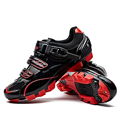Santic Cycling Shoes Men SPD Mountain Bike Lock Shoes MTB Cycling Accessories Breathable Self-Locking Shoes Black 44 (Best Mtb Shoes 2019)