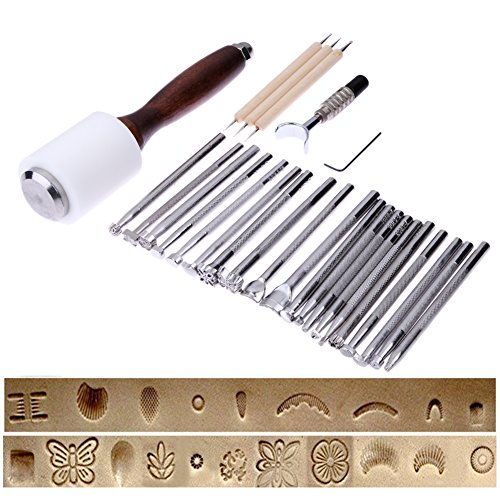 Yalulu 20PCS/Set Carving Stamp Hammer Tool, Leathercraft Stamping Cutting DIY Tool, Manual Leather Carving Stamp Hammer Sew Leather Embossing Kit by Yalulu