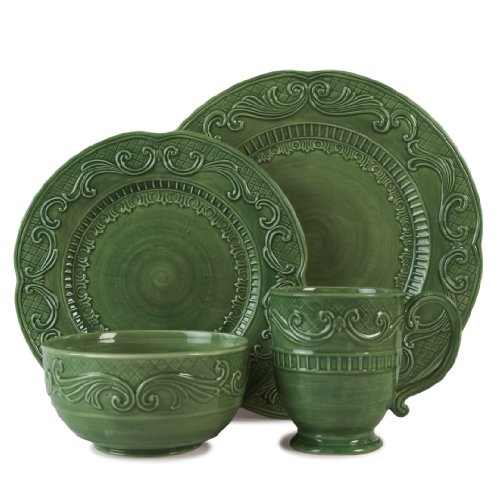 - Fitz and Floyd Ricamo 4-Piece Dinnerware Set, Green