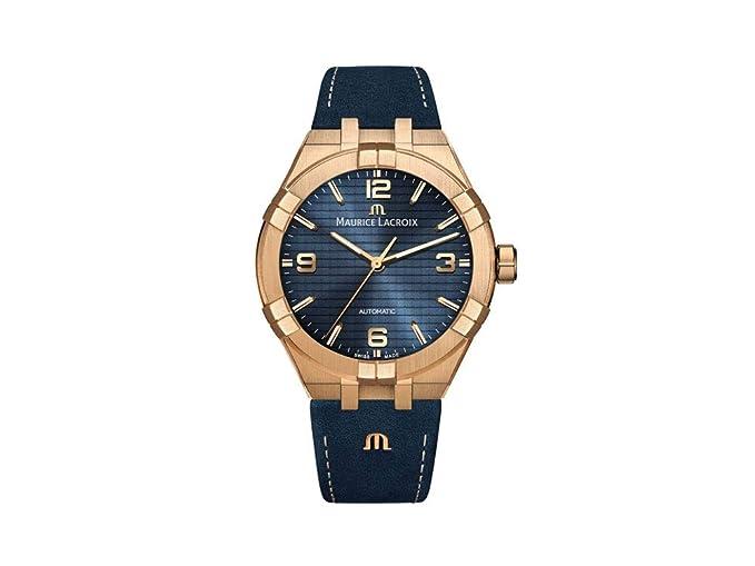 Reloj Automático Maurice Lacroix Aikon, Bronce, 42mm, Azul, AI6008-BRZ01-420-1-1: Amazon.es: Relojes