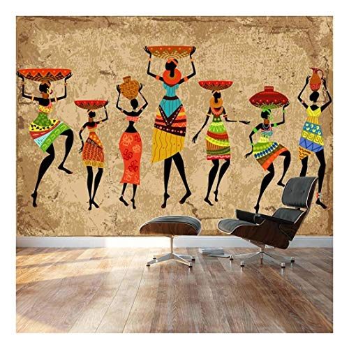 """- Large Wall Mural - Abstract Art African Woman on Grunge Background   Self-Adhesive Vinyl Wallpaper/Removable Modern Decorating Wall Art - 66""""x96"""""""