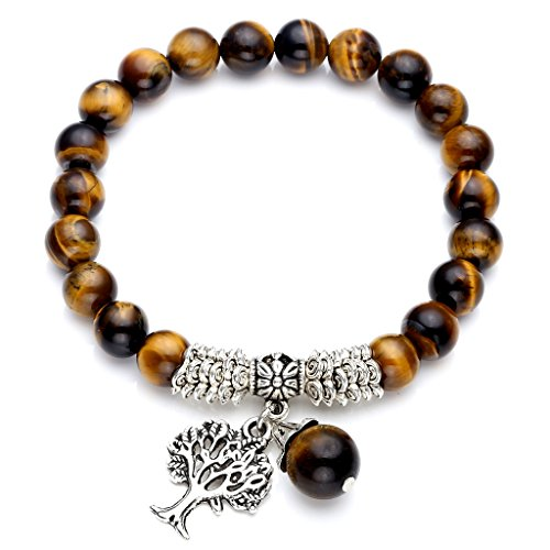 Top Plaza Stretch Tiger Eye Stone Tree of Life Lucky Stone Bracelet Reiki Healing Crystal Gemstone Dangle Charms Pendant Birthstone Bracelet(6.2