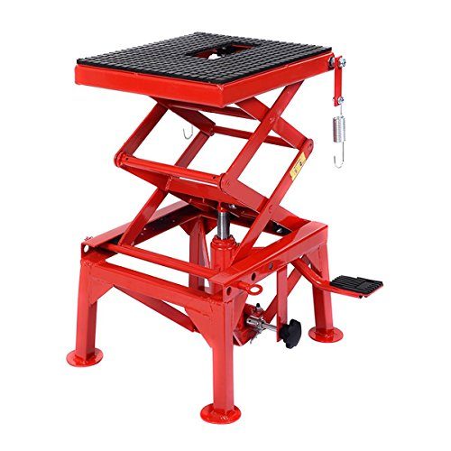 Red Motorcycle Lift Table Pedal Floor Scissor Jack Capacity 300 LBS w/ Non-Slip Hard Rubber