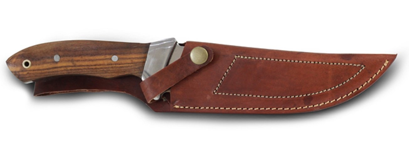 REPTILES PLANET Couteau Aventure en Inox avec manche en meranti et foureau en cuir El Mexicanos REPU5