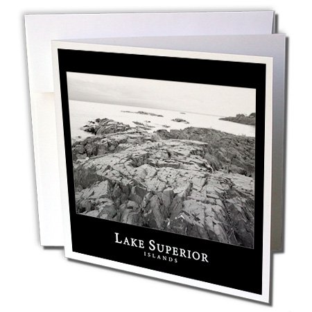 Lake Superior Islands - 3dRose Perkins Designs Photography - Lake Superior Islands 1 black and white photography of rocky islands in Michigan - 6 Greeting Cards with envelopes (gc_20506_1)