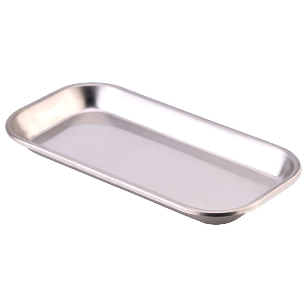 ICYANG Small Stainless Steel Square Medical Surgical Instrument Tray Oral Dental Dish Lab Instrument Tools(8.85 x 4.52 x 0.78inch)