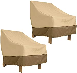 Patio Chair Cover 2 Pack, Naiveroo Lounge Deep Seat Patio Cover Sofa Cover 210D Outdoor Furniture Covers Waterproof (33.5'' x 31.5'' x 36'', Beige)