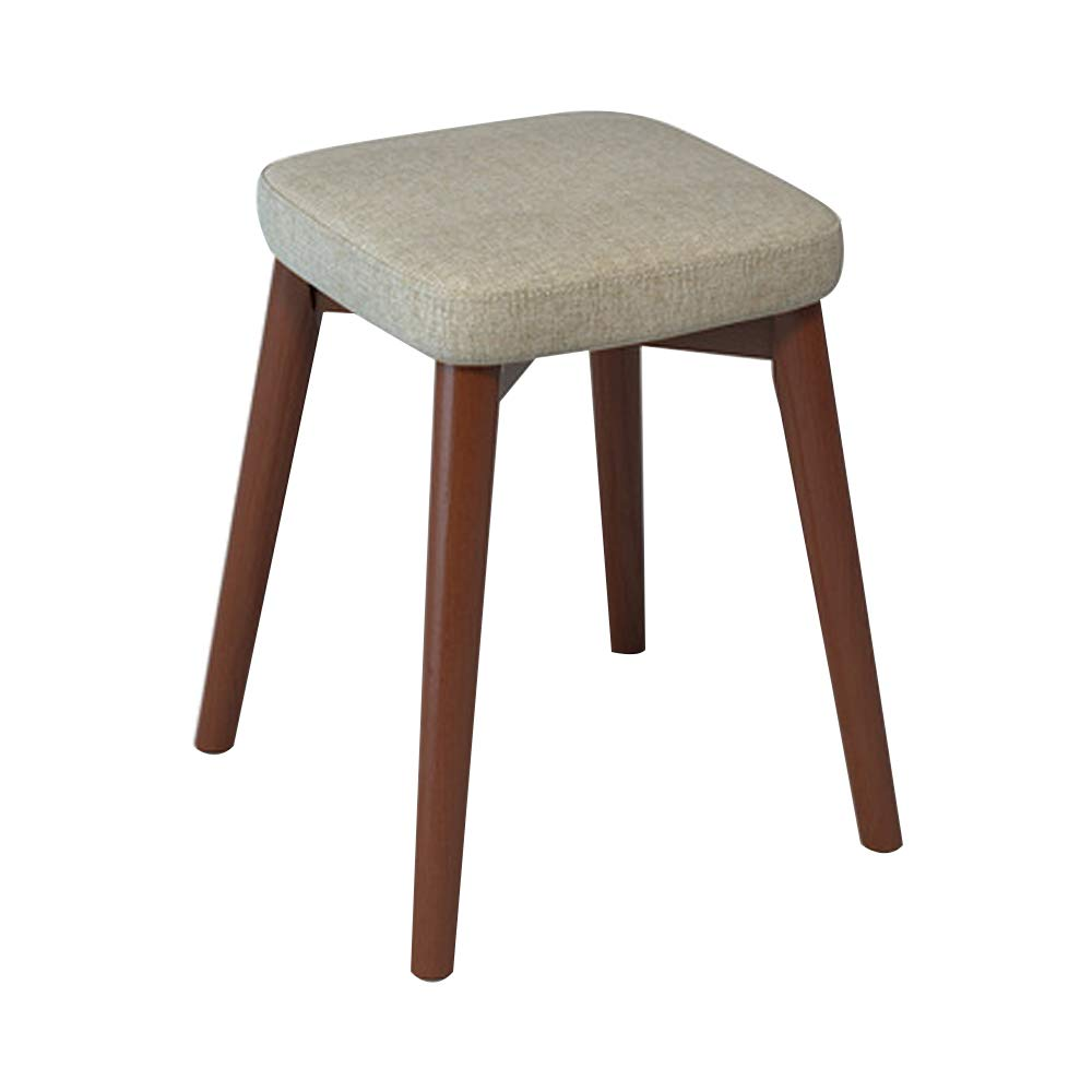 Home Dining Stool, Chair Stool Home Decor Stacking Stool Adult Small Wood Stool Living Room High Elastic Sponge Bench Upholstered Padded Stool, Solid Wood (13x13x18IN),Plain by LLEH