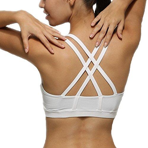 Animas Women's Wirefree Padded Criss Cross Back Yoga Sports Bra White L