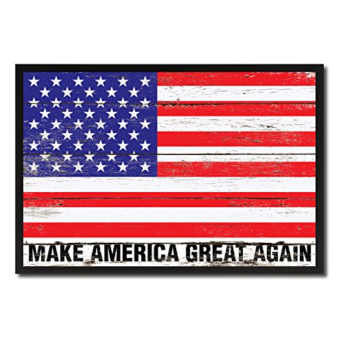 Make America Great Again Donald Trump USA Flag Vintage Canvas Print with Picture Frame Home Decor Man Cave Wall Art Collectible Decoration Artwork - Great America Frame Again Make