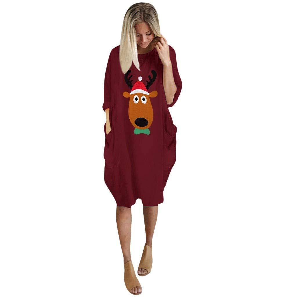 Skang Robe No/ël Femme Mode Cadeaux de No/ël Manche Longues Col Rond Mignon Reindeer Dessin Anim/é Imprim/é Long Blouse Grande Taille Casual Robe avec Poches S-5XL