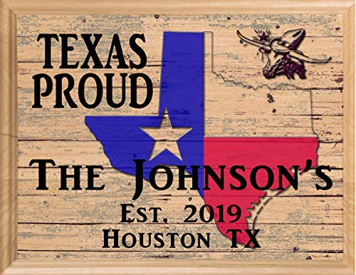 Texas Home Sign Personalized Family Name TX State Housewarming Gift Wall Art Made in The USA! (Best Rated Real Estate Agents)