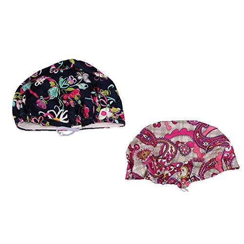 Prettyia 2/set Women Men's Printed Cotton Surgical Hat Scrub Cap Medical Cap