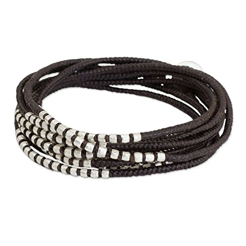 - NOVICA Braided Wrap Bracelet with Sterling Silver Plated Brass Beads, 21.75