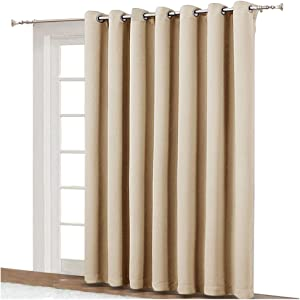 NICETOWN Extra Wide Patio Door Curtain - Energy Smart & Noise Reducing Grommet Thermal Insulated Wide Width Drapes, Sliding Door Curtain for Guestroom(Biscotti Beige, W100 x L84)