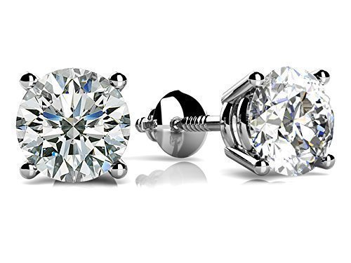Forever One Charles & Colvard 5mm VG Moissanite 1.0 cttw 14k White Gold Threaded Screw Back Round 4 Prong Stud Earrings (0.82 cttw Moissanite, I-J Color, VS1-VS2 Clarity) by knr