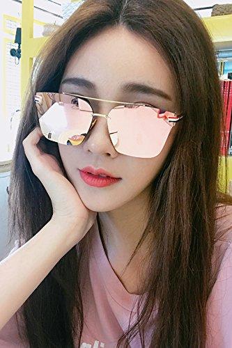 f71be3baed7 Amazon.com  Generic Face-lift reflective sunglasses women girls lady round  face long face Korea Korea retro big box fashion personality Beautiful thin  box  ...