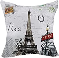 LoooL Retro Vintage Throw Pillow Cover Cushion Case, Paris Eiffel Tower