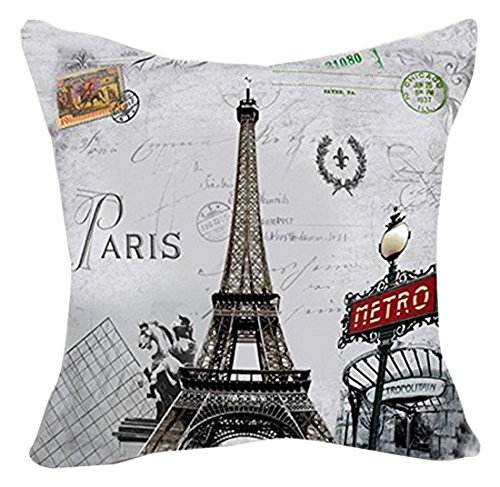 LoooL Retro Vintage Throw Pillow Cover Cushion Case, Paris E
