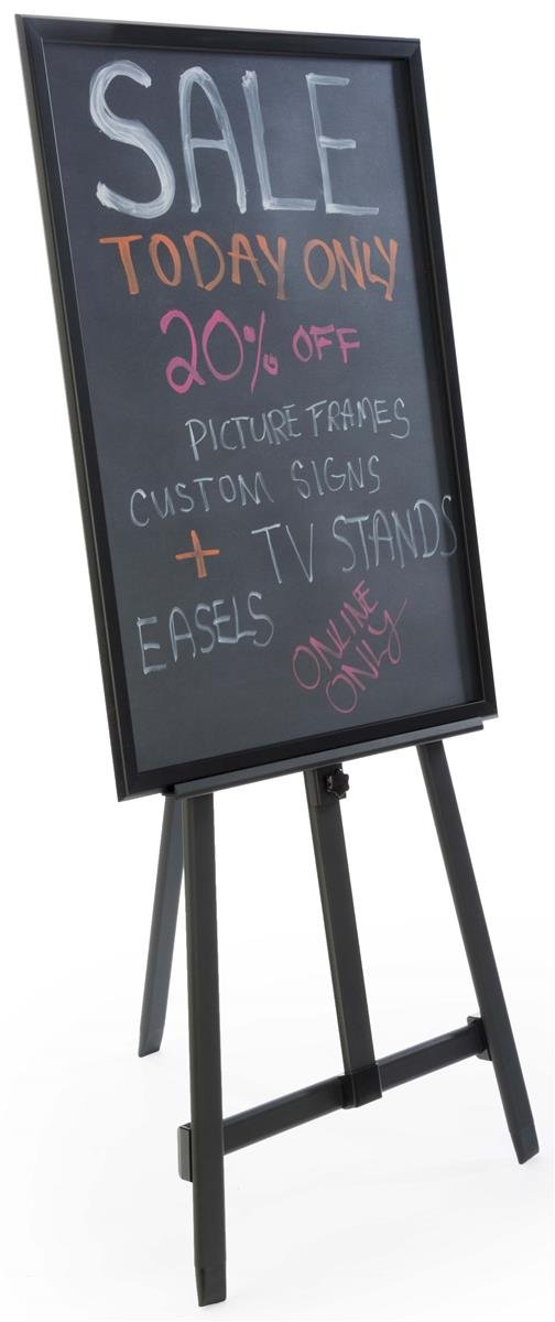 24 x 36-Inch Liquid Chalkboard with Heavy Duty Presentation Easel, Adjustable, Folding (Black Aluminum)