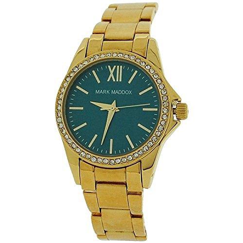 Mark Maddox Ladies Rhinestone Set Bezel Blue Dial Bracelet Strap Watch MM3015-27
