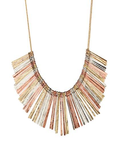 Lux Accessories Tri-Tone Plate Bib Necklace