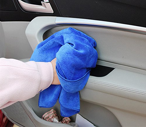 4PCS 30 * 30cm Bleu AIUIN Chiffons Microfibre Ideal pour Nettoyer et polir Votre Voiture Multiusages S/échage Rapide
