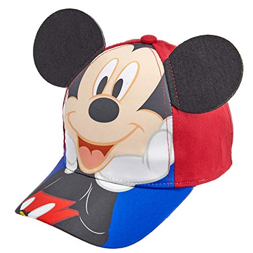 Disney Toddler Boys Mickey Mouse Cotton Baseball Cap Age 2-4 Red and Blue]()