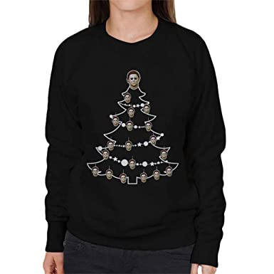 Halloween Mike Myers Christmas Tree Baubles Womens Sweatshirt