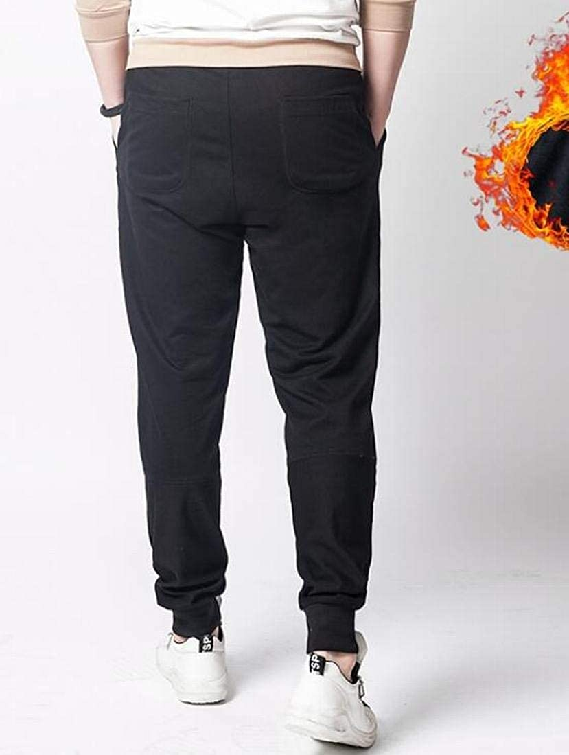 UUYUK Men Plus Size Sherpa Lined Elastic Waist Sweatpants Pants Trousers