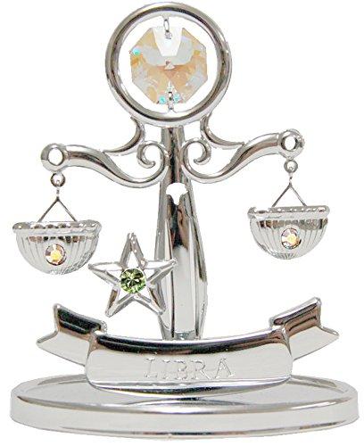 Zodiac Libra (Chrome Plated Zodiac (Libra) on Stand with Swarovski Crystal)