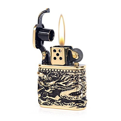 Armor Chinese Dragon Antique Style Lift Arm Oil Petrol Lighter ()