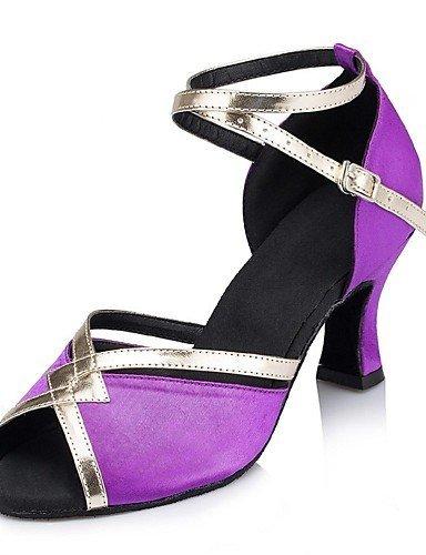 ShangYi Keine Maßfertigung möglich - Kubanischer Absatz - Wildleder / Leder - Lateintanz - Damen Purple