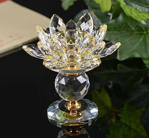 Holder Wood Candle Emanuel - Crystal Glass Block Lotus Flower Metal Candle Holders Feng Shui Home Decor Big Tealight Candle Stand Holder Candlesticks NO.6
