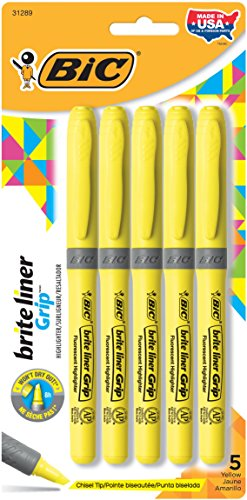 BIC Brite Liner Grip Highlighter, Chisel Tip, Yellow, 5-Count.