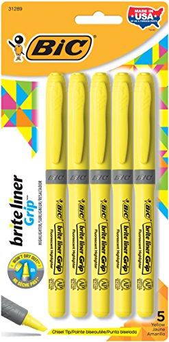 BIC Brite Liner Grip Highlighter, Chisel Tip, Yellow, 5-Coun