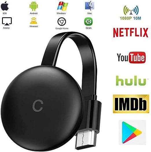 Stick De TV para El Nuevo Google Chromecast 3 para Netflix Youtube WiFi Pantalla HDMI Dongle InaláMbrica Miracast para Smartphone PC TV Monitor Proyector: Amazon.es: Hogar