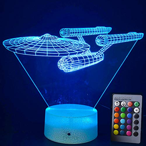Lmeison Night Lights for Kids 3D Night Light Bedside Lamp with Smart Touch & Remote Control 16 Colors Change Room Decor Best Gift for Kids, Friends, Birthdays, Holidays(Star Trek Warships)