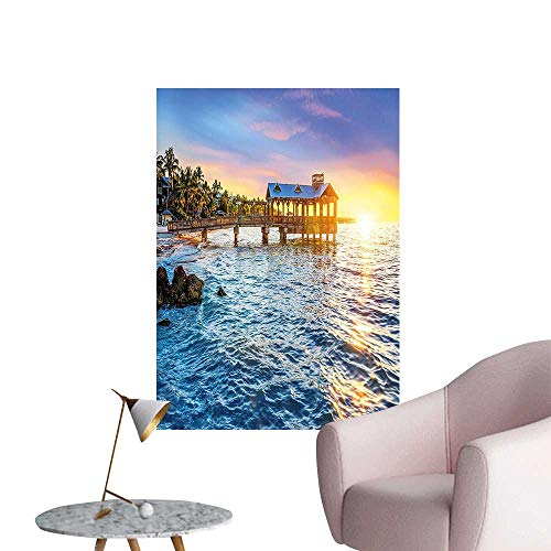 Wall Art Prints Pier at Beach in Key West Florida USA Tropical Summer Paradise Light Blue for Living Room Ready to Stick on Wall,16