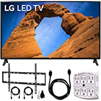 LG 43LK5700PUA 43-Class HDR Smart LED Full HD 1080p TV (2018) + Flat Wall Mount Kit Ultimate Bundle for 45-90 inch TVs + 6ft HDMI Cable + SurgePro 6-Outlet Surge Adapter w/Night Light