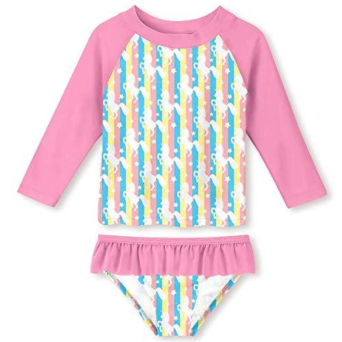 UNIFACO Little Girls Swimwear Rash Guard Pink Novelty Unicorn Printed Two Pieces Long Sleeve Swimsuit Set UPF 50+ Sun Protection Size 3/4 ()