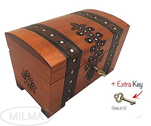 Treasure Chest Box w/ Lock and Key Polish Linden Wood Handmade Pirate Box Keepsake