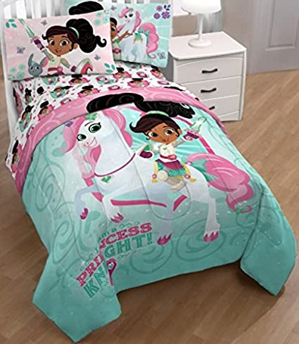 Nick Jr. Nella The Princess Knight 4 Piece Twin Bedding Set (Comforter +  Sheets