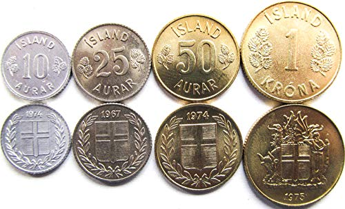 Iceland 4 Coins Set 1967-1974 UNC Icelandic AURAR, Krona Collectible Coins for Your Coin Album, Coin Holders OR Coin Collection