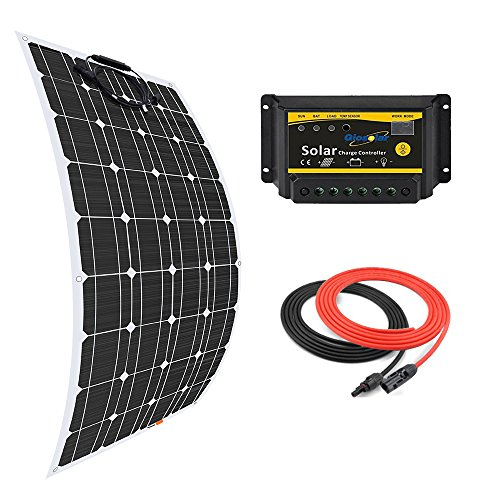Giosolar 100W Flexible Solar Panel Charger Kit Monocrystalline + 20A PWM LED Solar Controller + 5M Solar Cable for Boats Motorhomes Caravans Off-Grid Systems Review